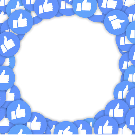 Smm and social background with thumb up icons Vettoriali