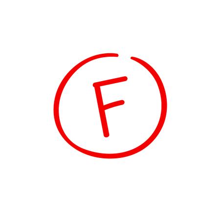 F wynik egzaminu ocena czerwona ostatnia ocena