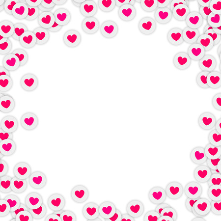 Feelings and love sign icons scattered on white background. Love sign frame template