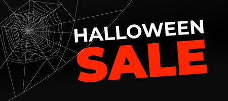 Halloween sale banner with dark background and cobweb Çizim
