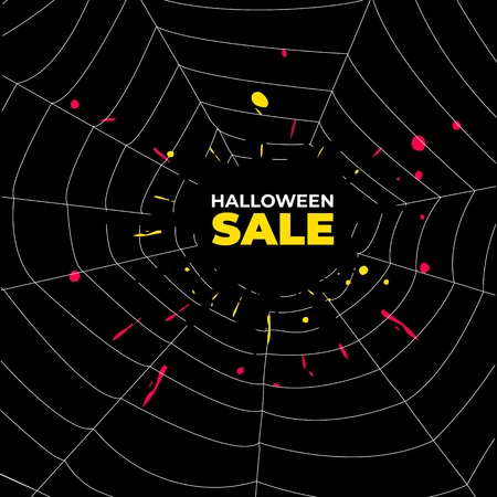 Sale background with spider web and place for a text
