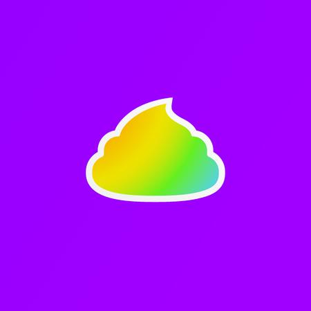 Simple feces icon. Colored poop simbol. Fecals sign