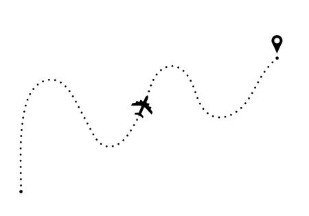 Plane route with point of departure and arrival