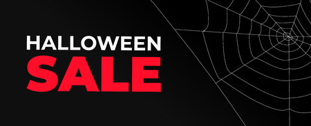Halloween sale banner with dark background and cobweb Illustration