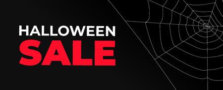 Halloween sale banner with dark background and cobweb Illustration