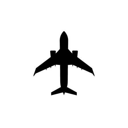 Simple charter passenger plane icon. Jet aircraft silhouette