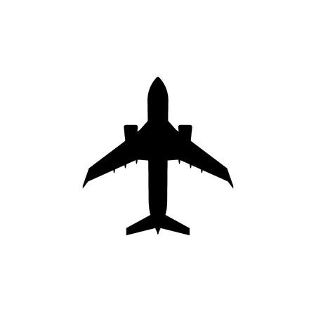 Simple charter passenger plane icon. Jet aircraft silhouette Foto de archivo - 107349562