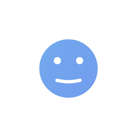 Satisfied emotion anthropomorphic face. Blue smiley isolated on a white background Illustration