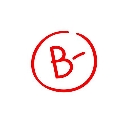 B minus examination result grade latter mark
