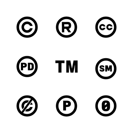 Intellectual property icons: copyright, creative commons, trademark, public domain, all rights reserved, service, sounnd recording Ilustração Vetorial