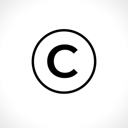Circular copyright icon isolated on background