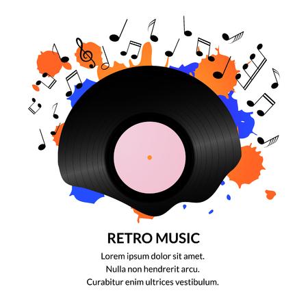 Vintage vinyl record background. Retro music background template
