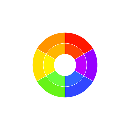 Simple color wheel icon isolated on white background. Circular logo with golor transitions