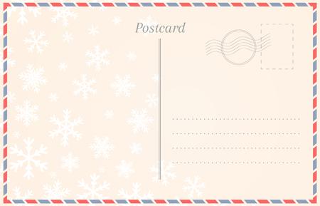 Plantilla de postal con copos de nieve para vacaciones de invierno y Navidad Ilustración de vector