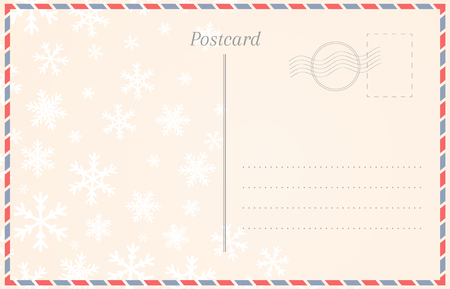Postcard template with snowflakes for winter holidays and Christmas Banco de Imagens - 110250948