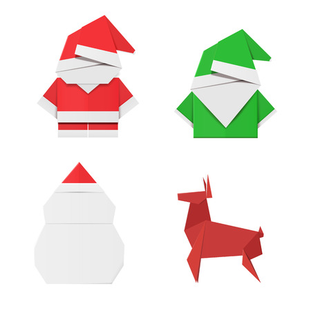 Set Of Origami Christmas Characters Santa Claus Elf Snowman