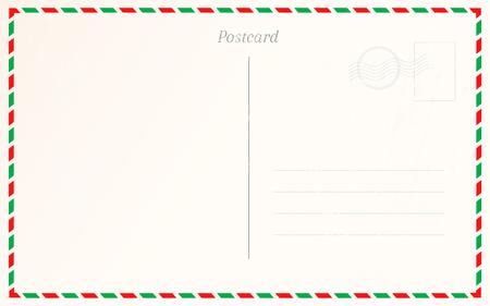 Vintage postcard border design. Travel postal card design template