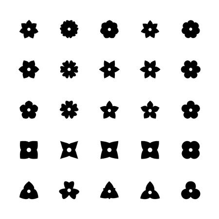 Black flower glyphs for design. Set of floral silhouette icons.