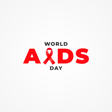 Minimalist typography poster with awareness red ribbon for World AIDS Day