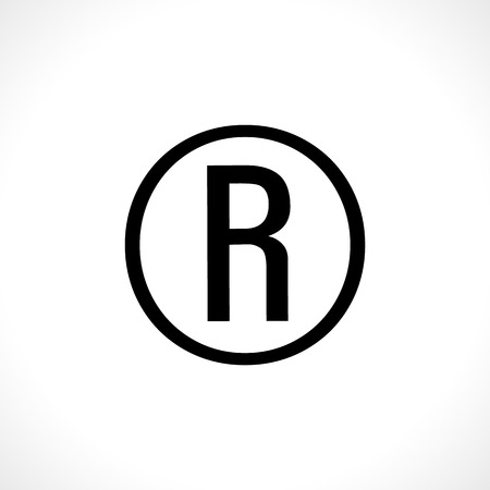 All rights reserved icon. R letter in a circle Çizim