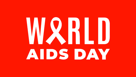 Simple poster for World AIDS Day with white awareness ribbon and red background Çizim