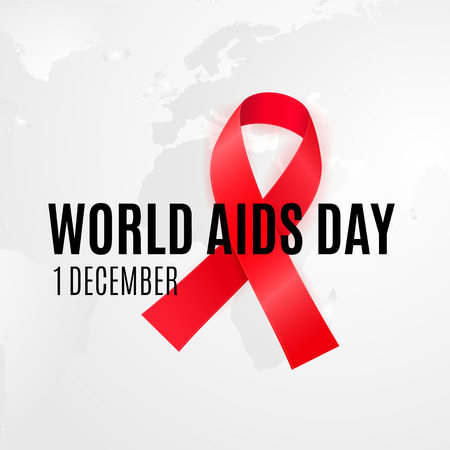 1 of December - WORLD AIDS DAY. Background with red cancer ribbon for HIV alertness campaign Illustration