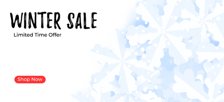 Mailing banner template. Winter sale background with snowflakes Çizim
