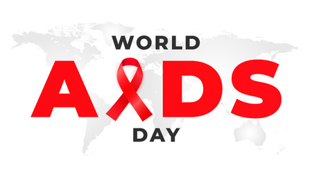 1 of December is the global WORLD AIDS DAY. Background with red awareness ribbon Çizim