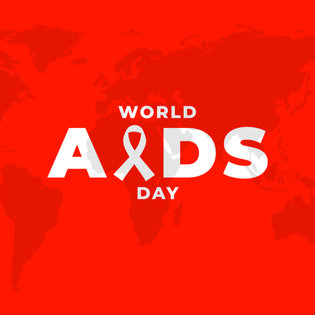 Poster design for World AIDS alertness campaign, HIV awareness placard with red background and worldmap