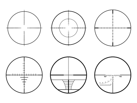 Set of AR crosshair scopes. Military sniper rifle target crosshairs. Çizim