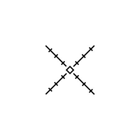 Simple sniper aiming cross icon. AR scope crosshairs Çizim