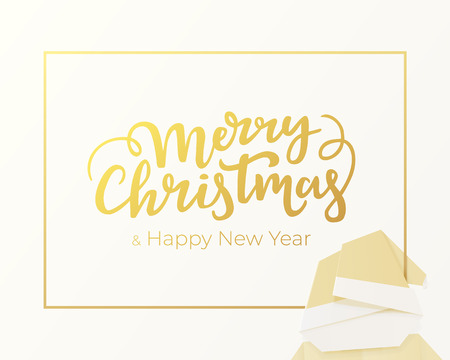 Merry Christmas and Happy New Year lettering made of gold foil. Winter holidays greeting card design with silver background