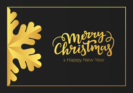 Merry Christmas and Happy New Year handwritten seasonal greetings. Winter holidays postcard made of a premium black paper and decorations of luxury gold foil Illustration