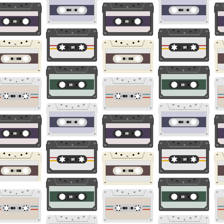Vintage seamless pattern with analogue music cassettes. 80s Loopable background with magnetic audio tapes