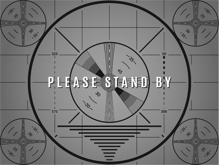 Vintage tv test screen. Please stand by television calibration pattern Ilustracja