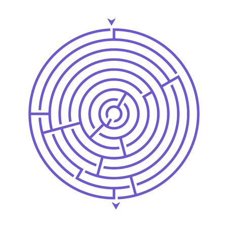 Simple round maze labyrinth game for kids. One of the puzzles from the set of child riddles Иллюстрация