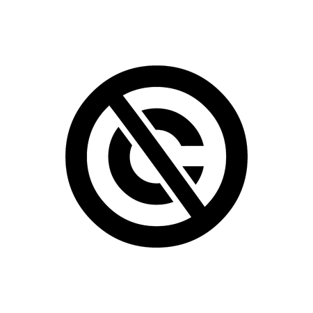Public domain circular icon. Crossed out C letter trademark sign Illustration