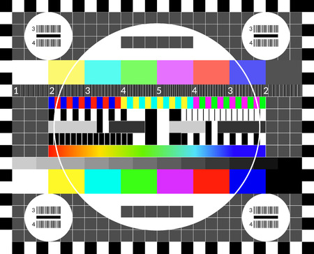 Retro tv test screen. Old calibration chip chart pattern Vectores