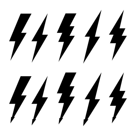 Thunderbolt and high voltage black icons for design. Ilustrace