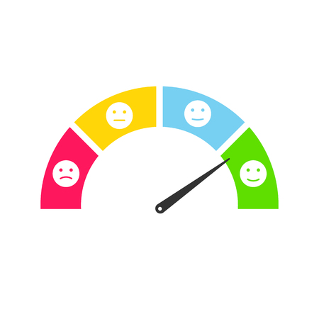 Ensemble d'infographie smiley de commentaires des clients. Illustration d'émoticônes de témoignages d'utilisateurs Vecteurs