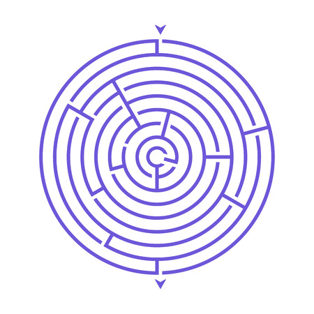 Simple round maze labyrinth game for kids. One of the puzzles from the set of child riddles Ilustração