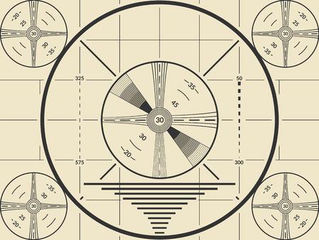 Modello dello schermo di prova della TV vintage per la calibrazione della televisione