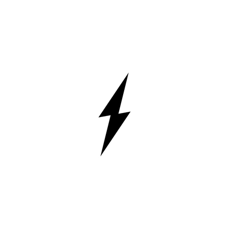 Simple black thunder icon. Thunderbolt and flash lighting sign
