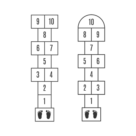 Hopscotch with numbers and child barefoot traces on start Illustration