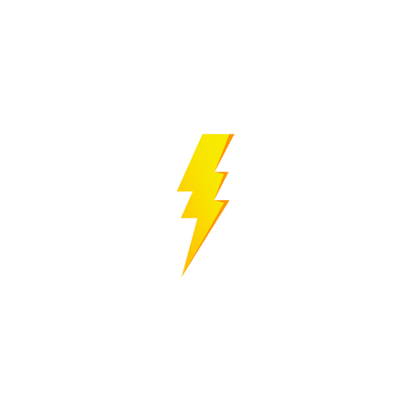 Simple yellow thunderbolt icon. Thunder, bolt and high voltage sign