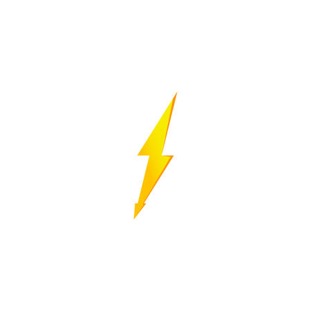 Simple yellow thunderbolt icon. Thunder, bolt and high voltage sign Standard-Bild - 115564400