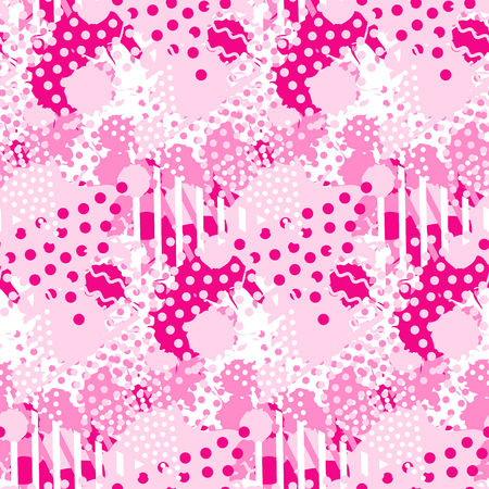 Abstract pink tile pattern with liquid forms and geometric triangle shapes 일러스트
