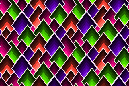 Abstract geometric pattern with scattered mosaic lozenges in trendy colors