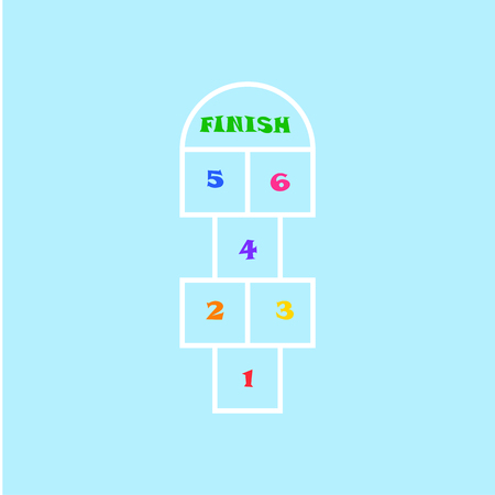 Hopscotch - active leisure game for kids fun Stock Illustratie