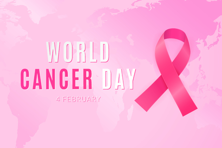 February 4 is world day when all people unite against the cancer Illustration